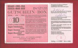 """Tankcheque 10 Liter """"Deutsche Shell"""" - Belgium"""