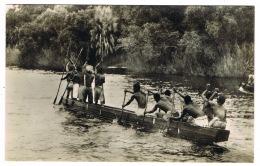 RB 1164 - Real Photo Ethnic Postcard - Native Canoe Victoria Falls Hotel Zambia Rhodesia Zimbabwe - Zambia