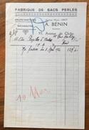 PARIS 1920 FABRIQUE DE SACS PERLES A.BENIN  FATTURA D'EPOCA ORIGINALE - Francia