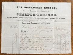PARIS 1853 AUX MONTAGNES RUSSES CHARDON-LAGACHE  ANTICA FATTURA D'EPOCA  ALLA CONTESSA MANSI ORSETTI - Francia