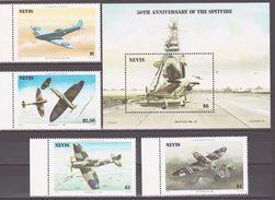 """Nevis 1986 Mi 360-363+Bl8 50 Years """"Spitfire"""" Aircraft. Aircraft Carrier/50 Jahre """"Spitfire""""-Flugzeuge. Flug - Avions"""