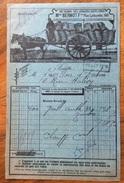 PARIS 1920  ANTICO CARRO A CAVALLI PER TRASPORTO CARBONE  ANTRACITE Ecc. FATTURA  ORIGINALE D'EPOCA - Francia