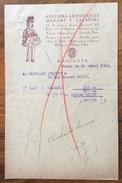 PARIS 1920  ATELIERS ARTISTIQUES  MADAME T.LAZARSKI   FATTURA  ORIGINALE D'EPOCA - Francia