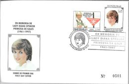 EN MEMORIA DE DIANA SPENCER PRINCESA DE GALES (1961-1997) SOBRE FDC HONDURAS NUMERADO - Honduras