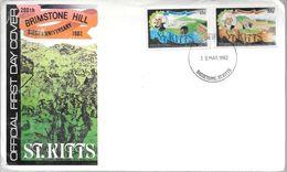 SAINT ST. KITTS FDC BRIMSTONE HILL SIEGE ANNIVERSARY 1982 BASSE TERRE ENVELOPE - St.Kitts En Nevis ( 1983-...)