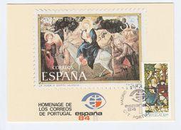 1984 PORTUGAL  EVENT COVER Card ESPANA 84 Spain SPECIAL Pmk CTT PORTUGAL MADRID Stamps Religion Christmas - Christmas
