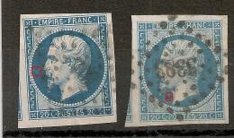 VOISINS, 2 N° 14B Type II. 20C EMPIRE à PLANCHER. SCAN 800%. - 1853-1860 Napoleon III
