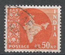 India 1959. Scott #313 (U) Map Of India, Carte Géographique - Oblitérés