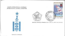 MONGOLIA FDC COMITE INTERNATIONAL OLYMPIQUE INTERNATIONAL OLYMPIC COMMITTEE ENVELOPE ENVELOPPE - Mongolië