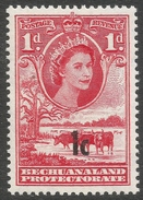 Bechuanaland Protectorate. 1961 QEII. New Currency Surcharged. 1c On 1d MH Type II SG 157 - Bechuanaland (...-1966)