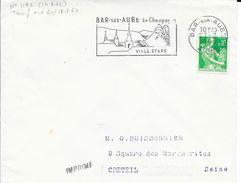 AUBE 10   -  BAR SUR AUBE   - FLAMME N° 1192 -  BAR SUR AUBE EN CHAMPAGNE / VILLE ETAPE  -  1963 - Postmark Collection (Covers)