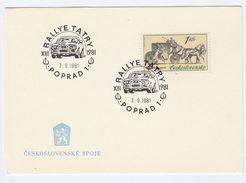 1981 RALLYE TATRY RALLY CAR RACE Event  COVER  Poprad Racing Motor Sport Czechoslovakia Card Stamps - Covers & Documents