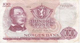 BILLETE DE NORUEGA DE 100 KRONER DEL AÑO 1974  (BANKNOTE) - Noruega