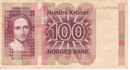 BILLETE DE NORUEGA DE 100 KRONER DEL AÑO 1977  (BANKNOTE) - Noruega