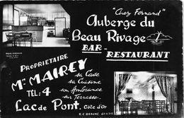 """¤¤  -  LAC De PONT  -  Carte Publicitaire De L'Auberge Du Beau Rivage  -  Propriétaire """" M. Mairey """"  -  ¤¤ - France"""