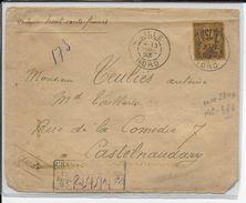 TYPE SAGE N/U - 1893 - RARE YT N° 99 SEUL Sur LETTRE CHARGEE De LILLE (NORD) => CASTELNAUDARY - Marcophilie (Lettres)