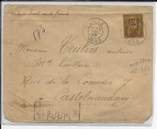 TYPE SAGE N/U - 1893 - RARE YT N° 99 SEUL Sur LETTRE CHARGEE De LILLE (NORD) => CASTELNAUDARY - Poststempel (Briefe)