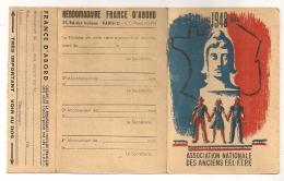 CARTE D'ADHERENT  ASSOCIATION NATIONALE DES ANCIENS FFI FTPF 1948  RESISTANCE CPA872 - Historische Dokumente