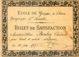 Billet De Satisfaction - Ecole De Garcons De Thaon - Vosges - Vieux Papiers