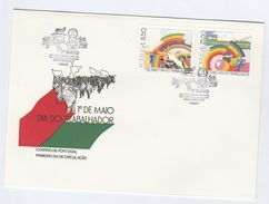 1981 PORTUGAL FDC WORKERS RAINBOW Stamps Cover Hat - FDC