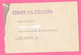 Posta Militare N°10 1942  Comando Aereo Slovenia Dalmazia Regia Aviazione  Lettera E Busta  Censura - Military Mail (PM)