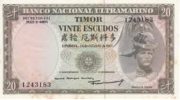 BILLETE DE TIMOR DE 20 ESCUDOS DEL AÑO 1967 (BANKNOTE-BANK NOTE) SIN CIRCULAR-UNCIRCULTED - Timor