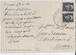 STORIA POSTALE R.S.I. - CARTOLINA ILLUSTRATA DA CREMA  27.04.1944 DA VESCOVO - 4. 1944-45 Social Republic