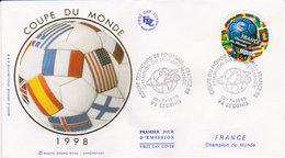 1998 France Champion Du Monde 1er Jour  Peu Courant - 1990-1999