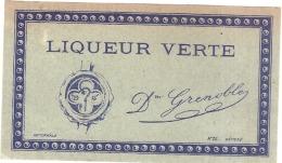 Superbe étiquette -  Liqueur Verte  - (point Colle Dos) - 1930 - Whisky