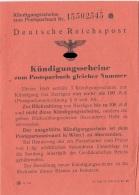 Kündigungsscheine Zum Postsparbuch Der DEUTSCHEN REICHSPOST Um 1940,Heft Mit Mehreren Seiten Kündigungsscheine Unbenutzt - Historische Dokumente