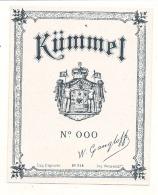 KUMMEL  étiquette 000 - Modele 214  - (4 Points De Colles Dos Amincis ) - Whisky
