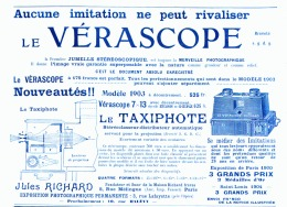 "PUB "" VERASCOPE  Et TAXIPHOTE  RICHARD ""  1905 (3) - Photographie"
