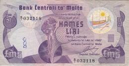 BILLETE DE MALTA DE 5 LIRAS DEL AÑO 1967 (BANKNOTE) - Malta