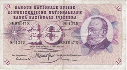 BILLETE DE SUIZA DE 10 FRANCS DEL AÑO 1967 (BANKNOTE) - Suiza