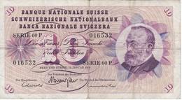 BILLETE DE SUIZA DE 10 FRANCS DEL AÑO 1969 (BANKNOTE) - Suiza