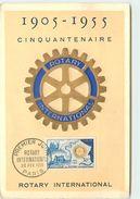 PREMIER JOUR CARTE MAXIMUM ROTARY INTERNATIONNAL 1955 - Cartes-Maximum