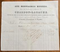PARIS 1860 AUX MONTAGNES RUSSES CHARDON-LAGACHE  ANTICA FATTURA  ORIGINALE D'EPOCA PER CONTESSA MANSI ORSETTI - Francia