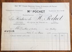 PARIS  1926 LES HERITIERS DE M.POCHET   ANTICA FATTURA  ORIGINALE D'EPOCA - Francia
