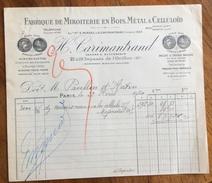 PARIS  1920  FABBRIQUE DE MIROITERIE EN BOIS,METAL & CELLULOID    ANTICA FATTURA  ORIGINALE D'EPOCA - Francia