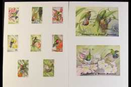 "BIRDS - IMPERF PROOFS Grenada / Grenadines 1992 ""Genova 92"" Hummingbirds Complete Set Plus Miniature Sheets, As SG... - Stamps"