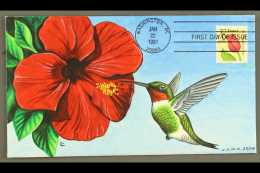 """BIRDS - HAND PAINTED FIRST DAY COVER 1991 (22 Jan) Flower """"F"""" Stamp, Scott 2517, On Hand Painted Illustrated FDC... - Stamps"""