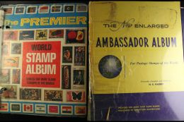 """WORLDWIDE COLLECTIONS IN THREE LARGE ALBUMS Including Well Filled """"New Ambassador"""" And """"The Premier"""" Albums. All... - Stamps"""