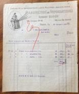 PARIS  1920 MANUFACTURE DE VAPORISATEURS  ROBERT BLOCH    ANTICA FATTURA  ORIGINALE D'EPOCA - Francia