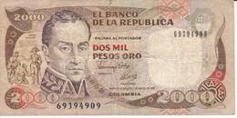 BILLETE DE COLOMBIA DE 2000 PESOS DE ORO DEL AÑO 1992  (BANK NOTE) - Colombia