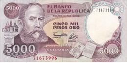 BILLETE DE COLOMBIA DE 5000 PESOS DE ORO DEL AÑO 1993 CALIDAD EBC (XF)  (BANK NOTE) - Colombia