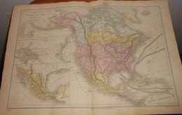 Carte Physique Et Politique De L'Amérique Du Nord. 1874 - Cartes Géographiques