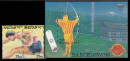 BHUTAN 1992 - BARCELONA OLIMPICS 92 - YVERT Nº 1015-1016** + BLOCK 323 - MICHEL 1467-68 + BLOCK 342 - SCOTT 1051a-1051b - Verano 1992: Barcelona