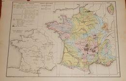 France Géologique Et Bassins Houillers. Eaux Minérales Et Thermales. 1874 - Cartes Géographiques