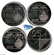 Aruba - 25 Cents 2001-2002-2003 (3 Coins - High Grade) - [ 4] Colonies