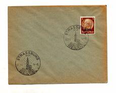 Lettre Cachet Strasbourg Cathedrale Sur Hindenburg Surchargé Alsace - Covers & Documents